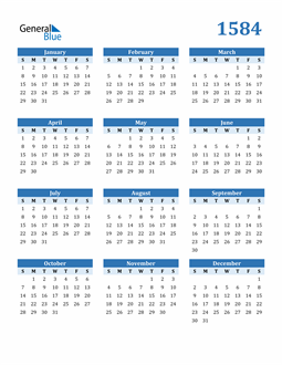 Image of 1584 1584 Calendar Blue with No Borders