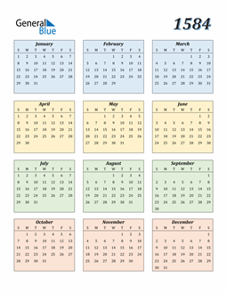 Image of 1584 1584 Calendar with Color