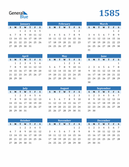 Image of 1585 1585 Calendar Blue with No Borders