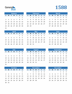 Image of 1588 1588 Calendar Blue with No Borders