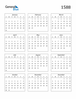 Image of 1588 1588 Calendar Streamlined