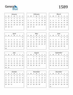 Image of 1589 1589 Calendar Streamlined