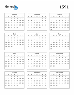 Image of 1591 1591 Calendar Streamlined