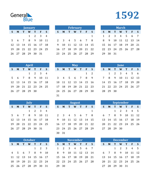Image of 1592 1592 Calendar Blue with No Borders