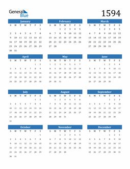Image of 1594 1594 Calendar