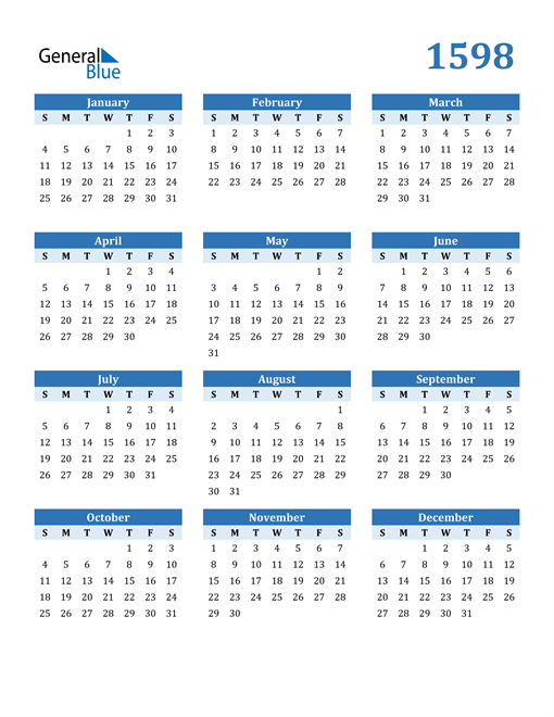 Image of 1598 1598 Calendar Blue with No Borders