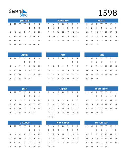 Image of 1598 1598 Calendar