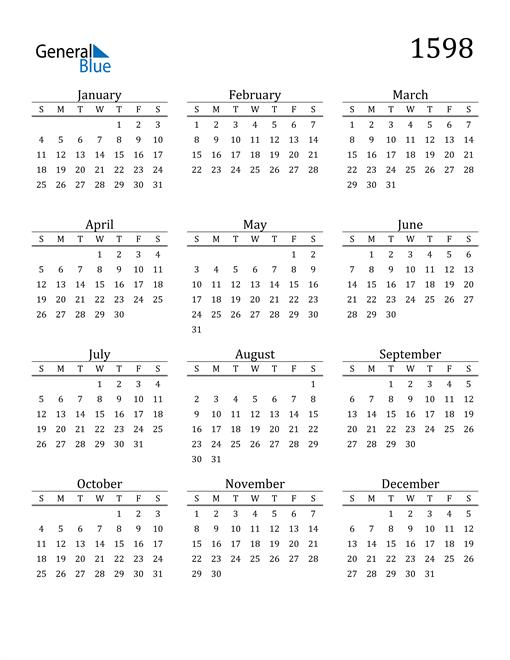 Image of 1598 1598 Printable Calendar Classic