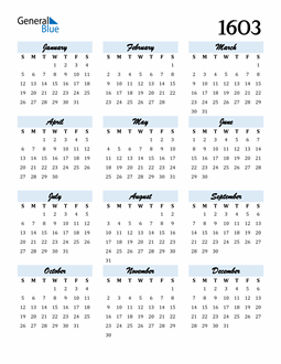 Image of 1603 1603 Calendar Cool and Funky