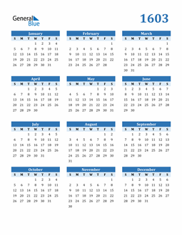 Image of 1603 1603 Calendar Blue with No Borders