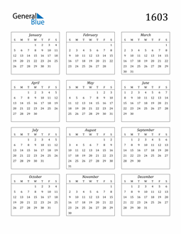 Image of 1603 1603 Calendar Streamlined