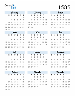Image of 1605 1605 Calendar Cool and Funky