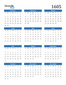 Image of 1605 1605 Calendar