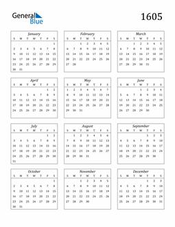 Image of 1605 1605 Calendar Streamlined