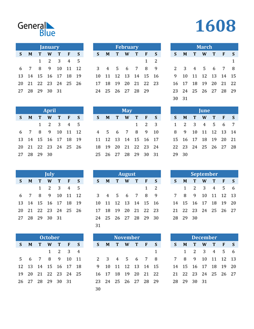 Image of 1608 1608 Calendar Blue with No Borders