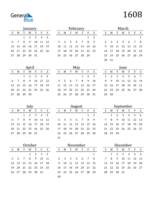 Image of 1608 1608 Printable Calendar Classic