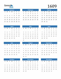 Image of 1609 1609 Calendar