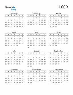 Image of 1609 1609 Printable Calendar Classic