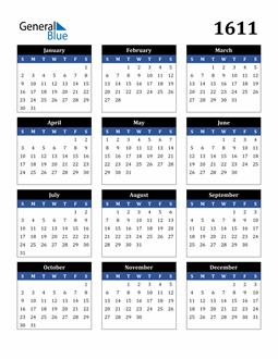 Image of 1611 1611 Calendar Stylish Dark Blue and Black