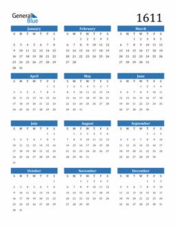 Image of 1611 1611 Calendar