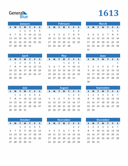 Image of 1613 1613 Calendar Blue with No Borders