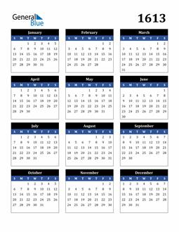Image of 1613 1613 Calendar Stylish Dark Blue and Black