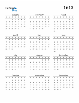 Image of 1613 1613 Printable Calendar Classic