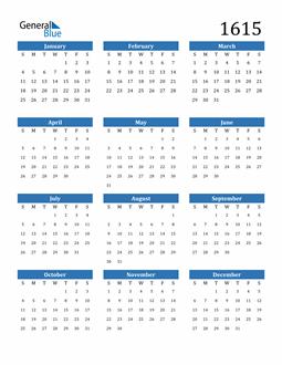 Image of 1615 1615 Calendar
