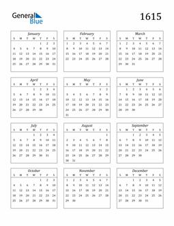 Image of 1615 1615 Calendar Streamlined