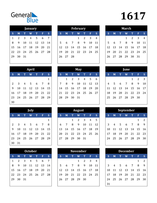 Image of 1617 1617 Calendar Stylish Dark Blue and Black