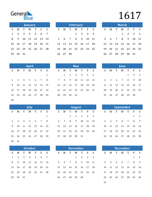 Image of 1617 1617 Calendar