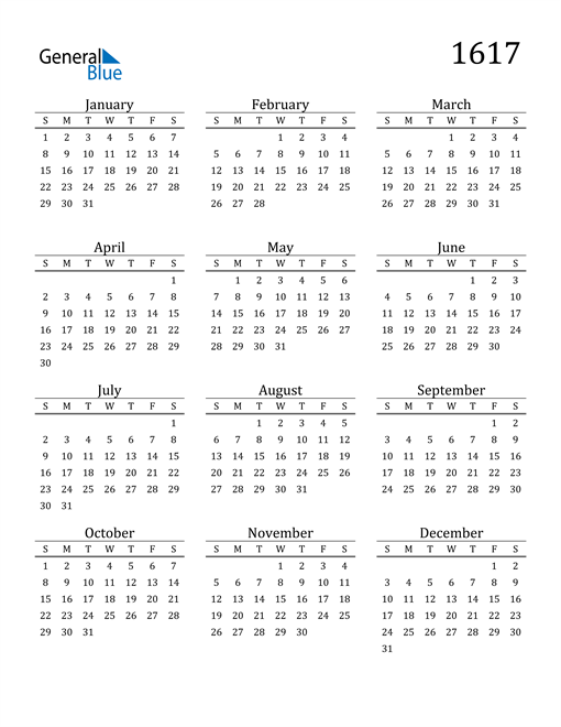 Image of 1617 1617 Printable Calendar Classic