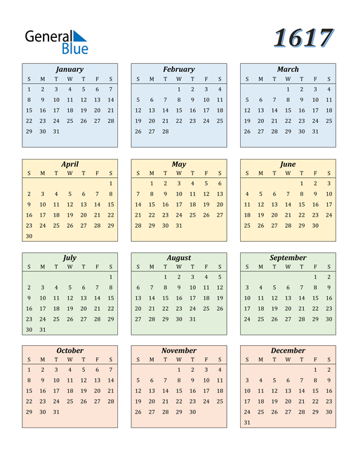 Image of 1617 1617 Calendar with Color