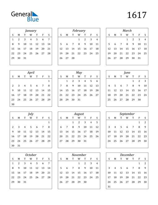 Image of 1617 1617 Calendar Streamlined