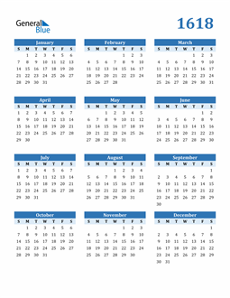 Image of 1618 1618 Calendar Blue with No Borders