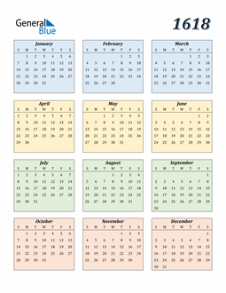 Image of 1618 1618 Calendar with Color