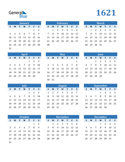 Image of 1621 1621 Calendar Blue with No Borders