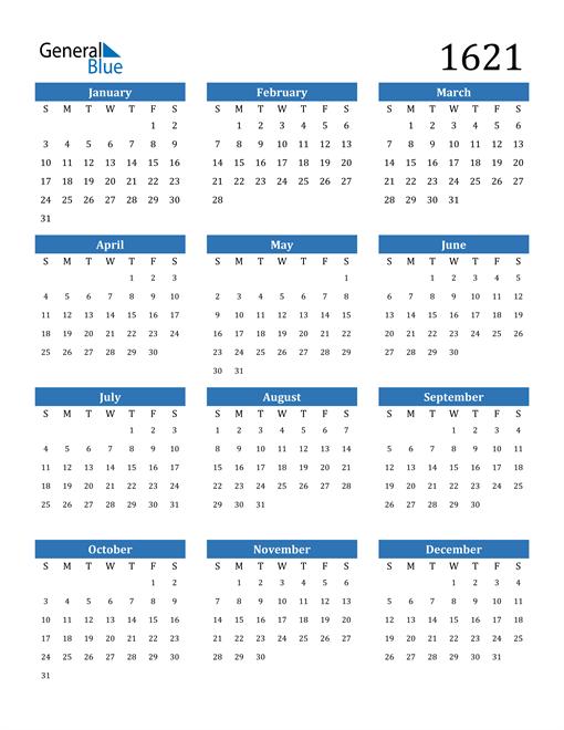 Image of 1621 1621 Calendar