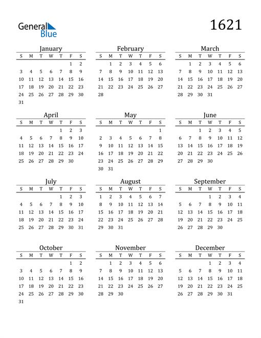 Image of 1621 1621 Printable Calendar Classic