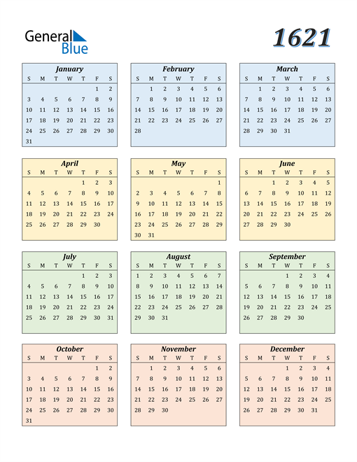 Image of 1621 1621 Calendar with Color