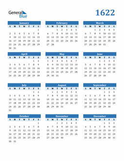 Image of 1622 1622 Calendar Blue with No Borders