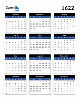 Image of 1622 1622 Calendar Stylish Dark Blue and Black