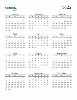 Image of 1622 1622 Printable Calendar Classic