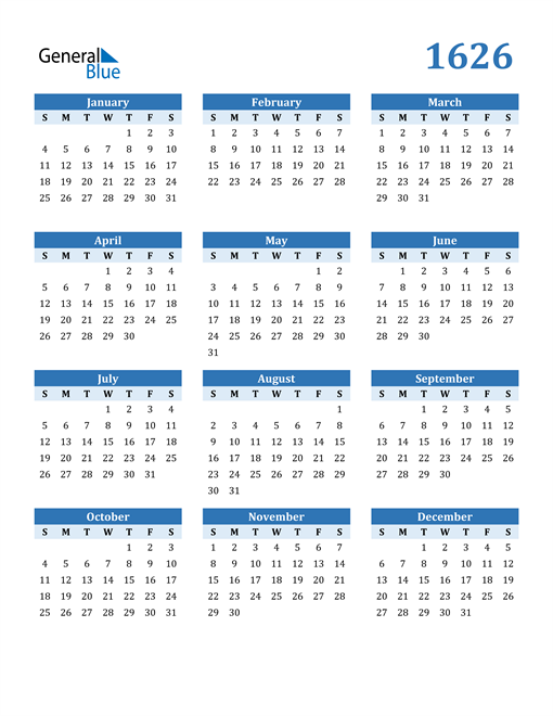 Image of 1626 1626 Calendar Blue with No Borders