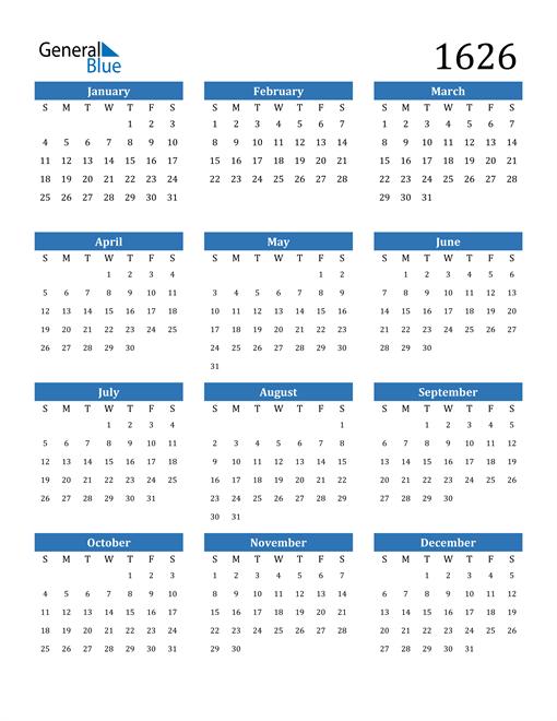 Image of 1626 1626 Calendar
