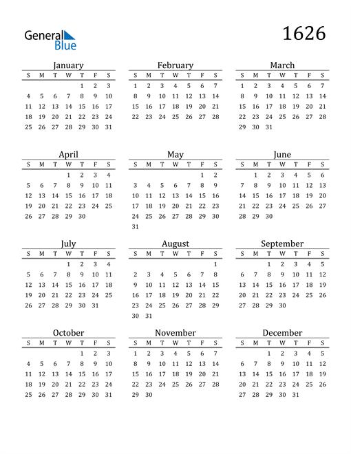 Image of 1626 1626 Printable Calendar Classic