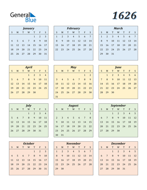 Image of 1626 1626 Calendar with Color