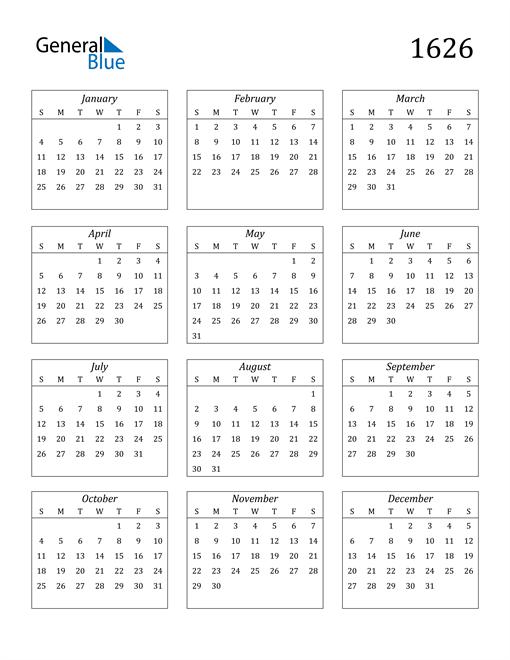 Image of 1626 1626 Calendar Streamlined