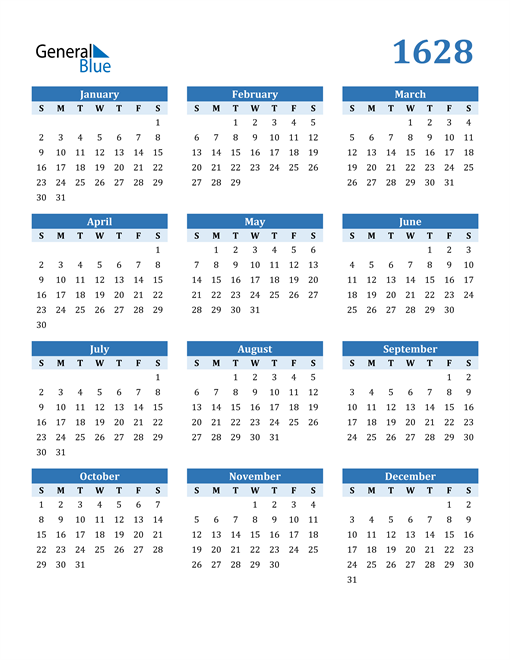 Image of 1628 1628 Calendar Blue with No Borders