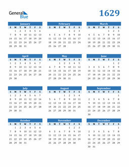 Image of 1629 1629 Calendar Blue with No Borders